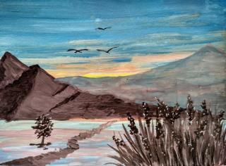 Рисуем горы гуашью.